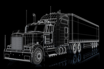 Truck 3d wireframe