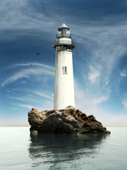 Day view of a old lighthouse on a rock island