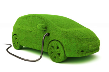 Grass covered car plugged into power supply