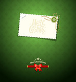 Merry christmas paper white card message on green background