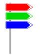 Panneaux directions rouge, vert, bleu