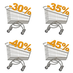 Set of shopping cart with discount