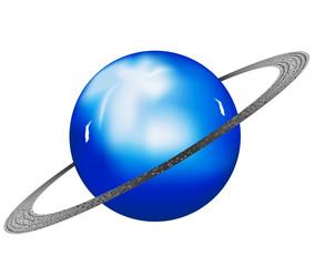 Vector illustration Uranus planet on a white background