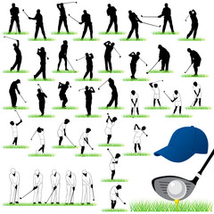 40 Detailed Golf vector silhouettes set