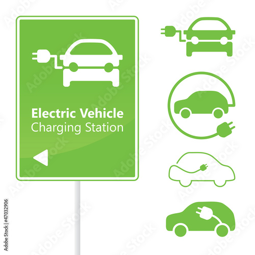 Electric Vehicle Charging Station road sign with set of icons