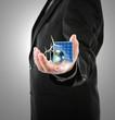 Business man hold Alternative Energy (solar cell, earth, wind tu