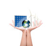 Woman hands hold Alternative Energy (solar cell, earth, wind tur