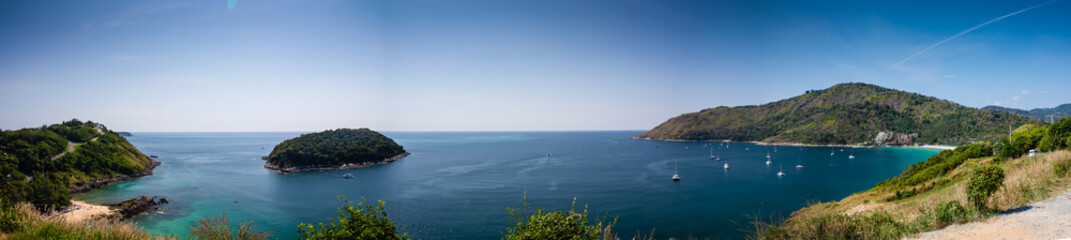 Panorama from viewpoint. Yanui Beach. Phuket.