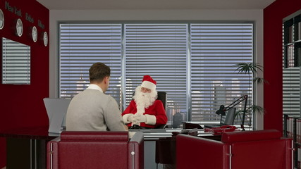 Santa Claus signing a contract with a Businessman,  smiling