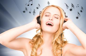 happy woman in headphones