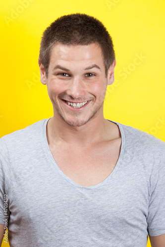 Man on yellow background