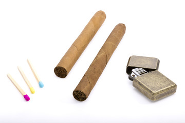 Burner, cigars and matches composition.Isolated