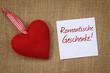 Herz mit Zettel romantische Geschenke