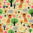Seamless pattern design. Cute forest