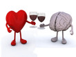 heart and brain with glass of red wine