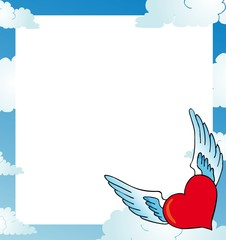 Frame with heart on sky