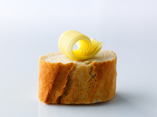 Butter curl on bread