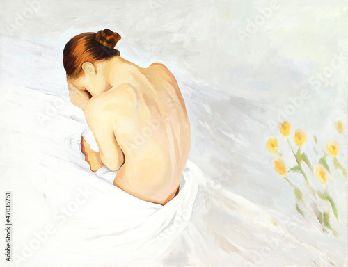 sad crying girl in beds, painting,  illustration - 47035751