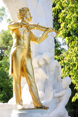 The statue of Johann Strauss in Stadtpark, Vienna, Austria