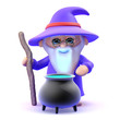 Wizard cooks up a spell in his cauldron