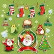 Santa Claus and labels on green background