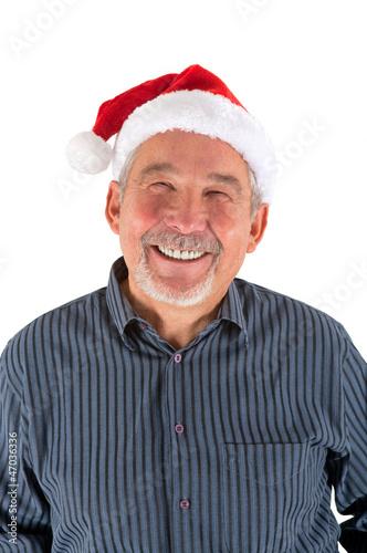 Mann mit Weihnachtsmütze