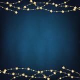 Fototapety Xmas Blue Background With Gold Stars