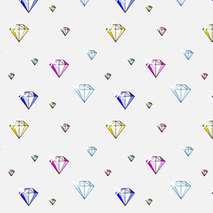 vector illustration of precious, colorful gemstones pattern