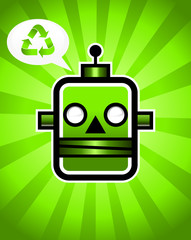 Green Recycling Retro Robot