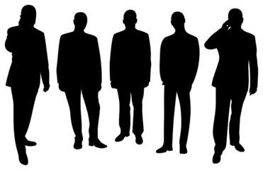 Silhouetten von fünf Geschäftsmännern