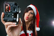 Funny Santa Claus Woman with Camera