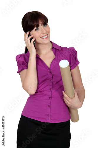 Female architect on the phone