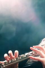 Flute music flutist hands