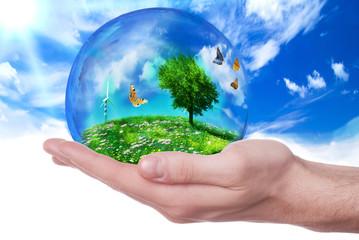 mano che regge sfera ecosostenibile