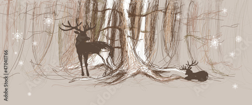 Young doe with father Deer / Drawn forest background