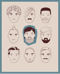 man with various hairstyles, mustaches and beards collection