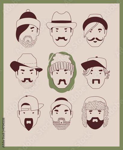 man with various hairstyles, mustaches and beards wearing hats