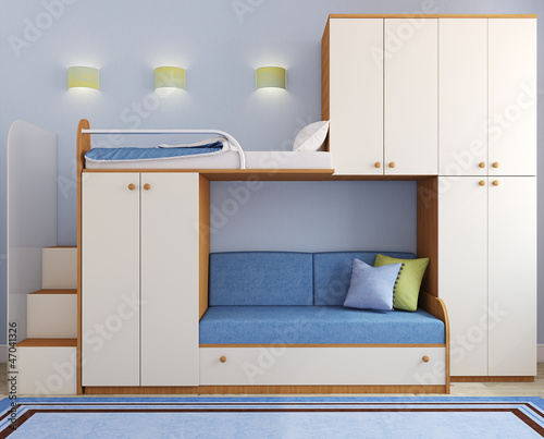 Children's bedroom in blue