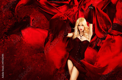 Sexy Blonde Fantasy Woman with Splashing Red Silk