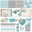 Scrapbook Design Elements - Vintage Lace Butterflies - in vector
