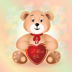 Sitting Teddy Bear toy with red bow..