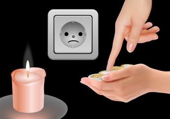 Stromkosten steigen! Licht aus, Kerze an!