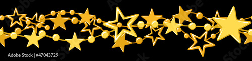 Horizontal vector seamless garland with golden stars.