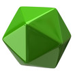 Illustration of green geometric figure. Icosahedron