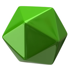 Illustration of green geometric figure. Icosahedron