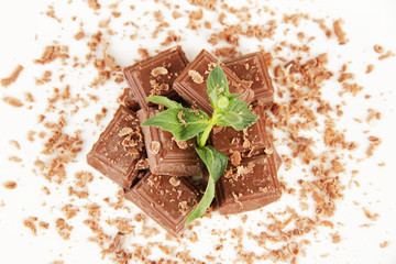 Chocolate crumb with mint close-up