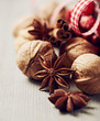 Close up of christmas spices and walnuts
