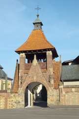 ancient belfry of Franciscans church in Krosno