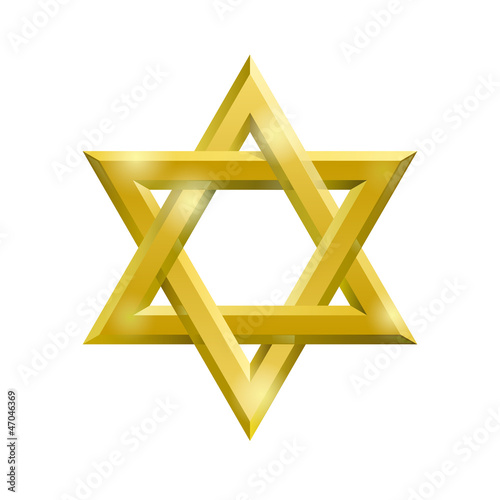 Golden David star on the white background