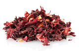 aromatic Hibiscus tea, isolated on white